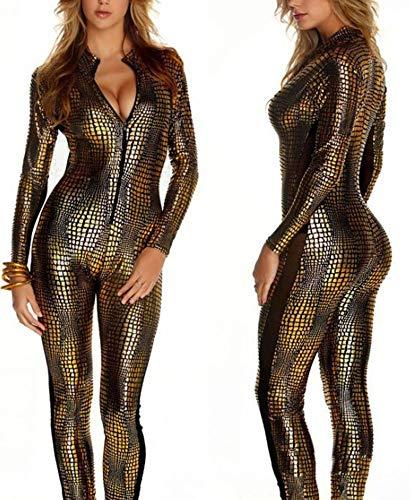 Club XSQR Night Look Gold Clubwear Tuta Body Stretti Wet Sexy Donna rqwIOXr