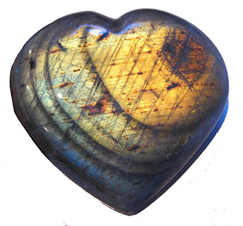 (Labradorite Heart 02 Huge Deluxe Rainbow Green Orange True Love Stone Mineral)