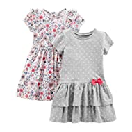 Girls' Baby and Toddler 2-Pack Short-Sleeve and Sleeveless Dress Sets