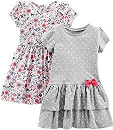 Baby and Toddler Girls 2-Pack Short-Sleeve and Sleeveless Dress Sets