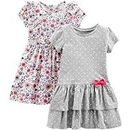 Simple Joys by Carter's Girls' 2-Pack Short-Sleeve Sleeveless Dress Sets