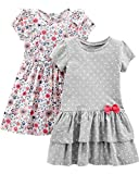Simple Joys by Carter\s Girls\ Toddler 2-Pack Short-Sleeve and Sleeveless Dress Sets, Gray Dot/Floral, 3T
