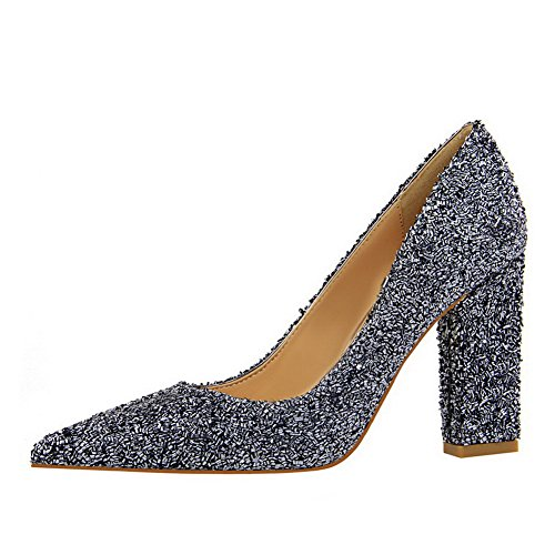 Odomolor AmagooTer Women's Solid Sequins High-Heels Pointed-Toe Pull-On Pumps-Shoes Gray Adfb9MjSUk