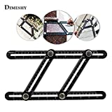 Multi Angle Measuring Ruler, Metal Angleizer Template Tool Made of Alumium Allloy with free bag, Layout Measurement for Handymen, Builders, Craftsmen, DIY-ers by DIMESHY
