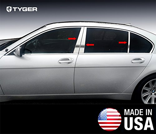 Works With 02-08 BMW 7 Series Sedan 6PC Stainless Steel Chrome Pillar Post Trim Made in USA