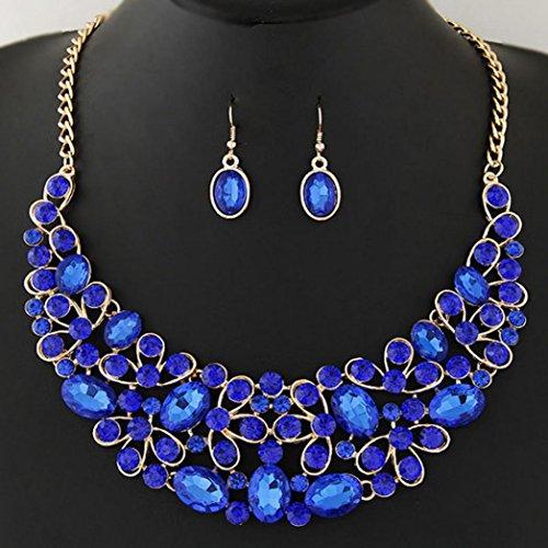 Malltop Women Jewelry Statement Rhinestones Pendant Bib Chain Choker Necklace Earrings Set (Oval Shap, - Girl Glasses Cartier