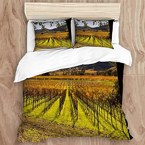 NIKIVIVI Duvet Cover,Valley Vineyard Napa Autumn Food Drink Nature Green California Sonoma Fall Grapes Design France,Modern Style Customize Bedding Set Softness 2 Pillowcases,Queen Size 88