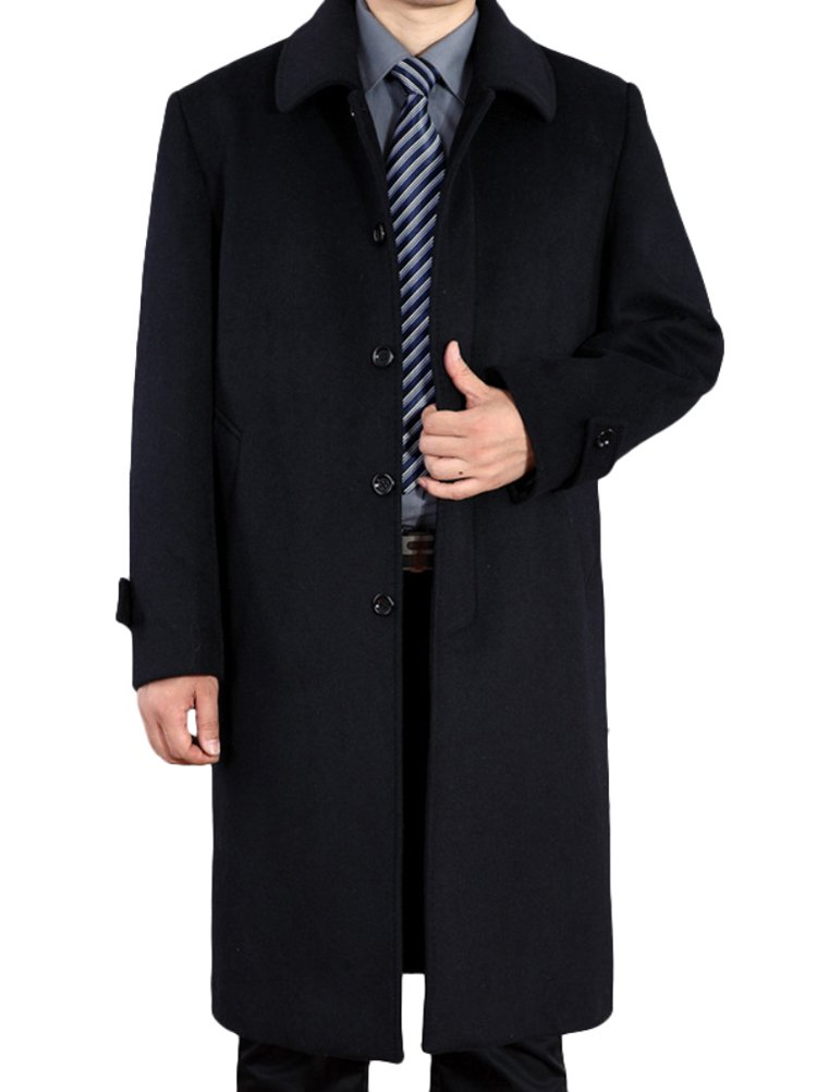 Mordenmiss Men's Wool Single Breasted Winter Trench Jacket Woolen Pea Coat Style 1 Black 2XL