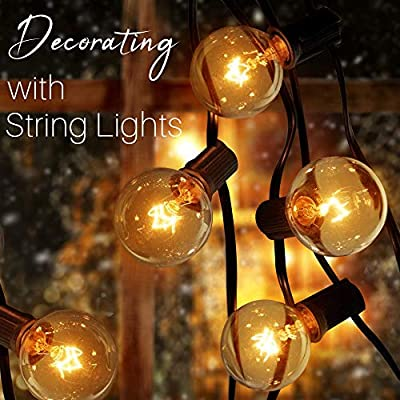 50ft Party Decor Globe String Lights, 50 G40 Bulbs Connectable, Waterproof, Indoor/Outdoor Globe String Lights for Patios, Weddings, Backyards, Porches, Gazebos, Pergolas, + 2 Wine Bottle Cork Lights