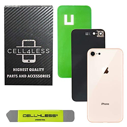 CELL4LESS Back Glass Cover OEM Battery Door Replacement w/Installed Camera Frame & Lens, Adhesive & Removal Tool for Apple iPhone 8 (Gold 8)