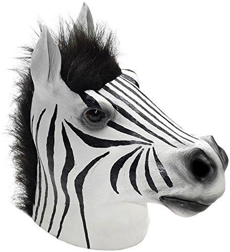 Zebra Latex Mask (Forum Women's Overhead Latex Zebra Mask, Black/White, One Size)