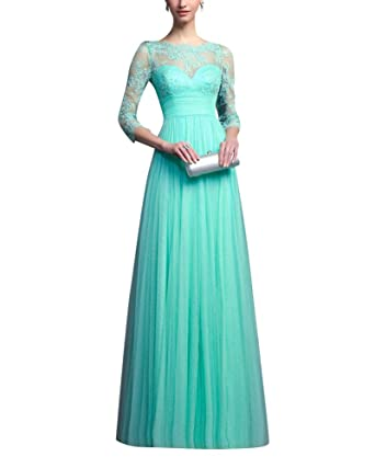 Womens Long Sleeve Floral Lace Prom Dress Vintage Elegant Long Maxi Cocktail Party Dress Green S