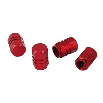 MagiDeal 4x Tapas Tapones Válvulas Cubierta de Neumático Aluminio para LLanta de Camión Coche Color Rojo: Amazon.es: Coche y moto