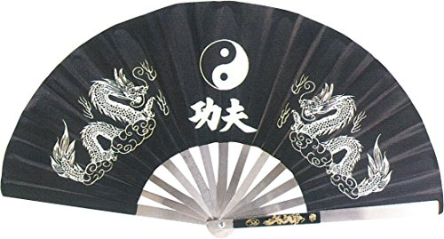 AuroTrends Kung Fu Fighting Fan 13.7 Inches Long/25.2 Inches Wide Opened- Chinese Taichi Folding Handheld Fan (Black) (Kung Fu Metal Fan)