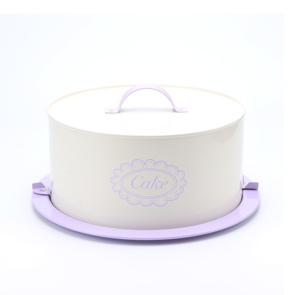 Hot sale X504L Purple Metal Birthday Cake Carrier/Tin/Canister/Container/Home Kitchen Gift With Cover And Lock Catch
