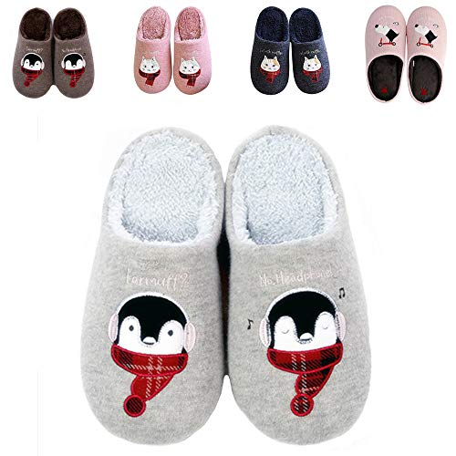 - Kids Slippers Slip On House Winter Indoor Shoes (3XS/Toddler 6M-8M B(M), Grey Penguin)