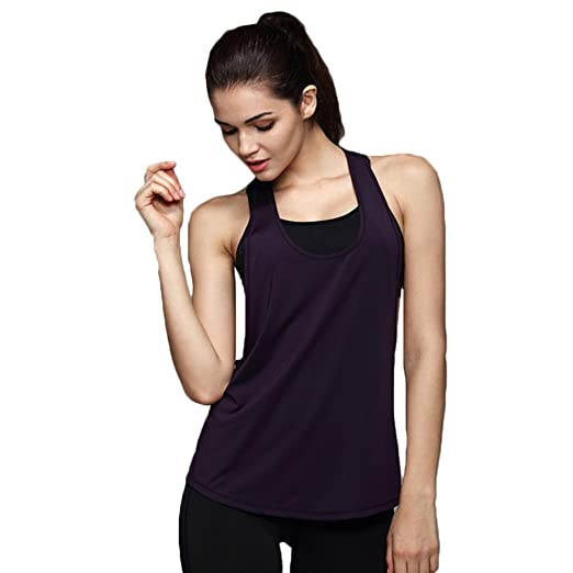 673e3d2d78ccd Amazon.com  henglong Women Racerback Basic Tank Tops Plain Workout Cami  Vest Loose Flowy Dri Fit Running Yoga T-Shirts  Clothing