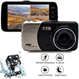 Car Dash Cam Video Recorder Dual Lens, Maso 4 1080P HD DVR IPS FHD Dashboard Camera 170° Wide Angle In Car Vehicle Driving DVR Recorder with G-Sensor Parking Monitor WDR Loop Recording Night Vision