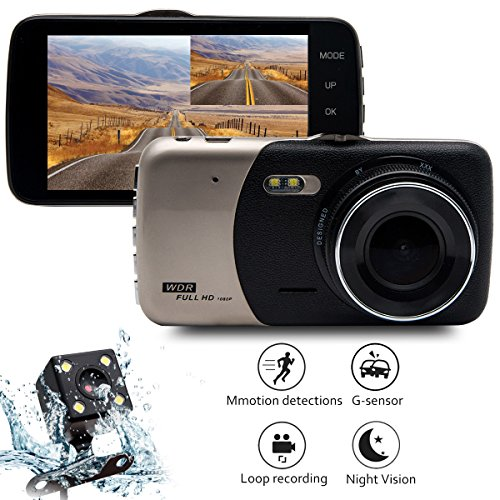 Cheap Car Dash Cam Video Recorder Dual Lens, Maso 4″ 1080P HD DVR IPS FHD Dashboard Camera 170° Wide Angle In Car Vehicle Driving DVR Recorder with G-Sensor Parking Monitor WDR Loop Recording Night Vision