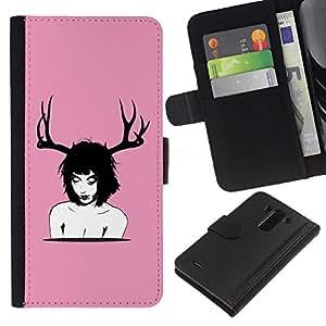 LG G3 D855 D850 D851 , la tarjeta de Crédito Slots PU Funda de cuero Monedero caso cubierta de piel ( Deer Horns Woman Art Nude Portrait Brunette)