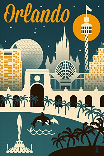Orlando Painting - Orlando, Florida - Retro Skyline (24x36 Giclee Gallery Print, Wall Decor Travel Poster)