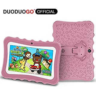 Kids Tablet 7 inch Android Educational Tablets for Kids with Shockproof Case Learning App .2GB RAM 32 GB ROM 2.0+5.0MP Dual Camera-Pink