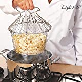 Chef Basket, Yummy Sam Stainless Steel Foldable Steam Rinse Strain Fry Basket Strainer Net Kitchen Cooking Tool for Fried Food or Fruits