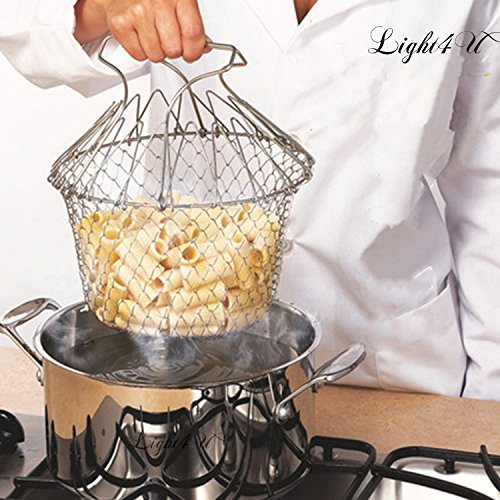 Stainless Wire Rinse Basket (Chef Basket, Yummy Sam Stainless Steel Foldable Steam Rinse Strain Fry Basket Strainer Net Kitchen Cooking Tool for Fried Food or Fruits)