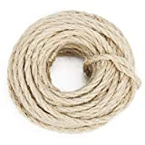 33Ft Cat Natural Sisal Rope for Scratching Post Tree Replacement - Hemp Rope for Repairing Recovering or DIY Scratcher Pet Toys - 6mm Diameter