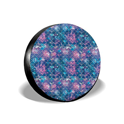 Art-Capital Spare Tire Cover Mermaid Scales Purple Blue Wheel Tire Covers Waterproof UV Protective Wheel Bags Universal Fit for Jeep Car Trailer RV SUV Truck Camper Van 14 15 16 17 Inch