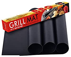 SUMGOTT Non-Stick BBQ Grill Mat, Perfect for Charcoal, Electric and Gas Grill, Reusable, Easy to Clean, Essential Grilling Accessories for Home Cooks and Grillers, Set of 3