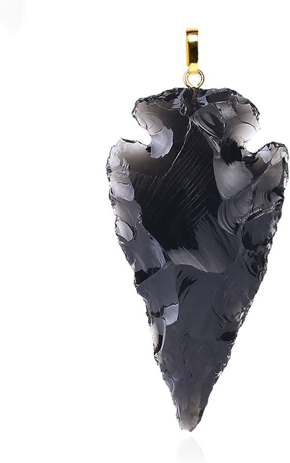 C- Collar-Hombres Gemas Crudas Negro Obsidiana Dijes Colgante para Collar Punta De Flecha De Curación Áspera Piedra Natural Colgantes