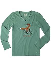 Womens Fox on a Bike Long Sleeve Crusher Vee