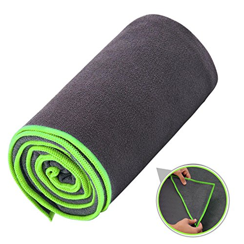 Ewedoos Yoga Towel with Anchor Fit Corners, 100% Microfiber Non Slip Yoga Towel, Super Soft, Sweat Absorbent, Ideal for Hot Yoga, Pilates and Workout (Green Trim Small) (Fit 24)