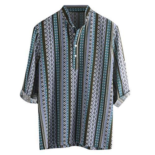 (iHPH7 Men's Short Sleeve Shirts Men Ethnic Pattern Printed Half Sleeve Henley Shirts Blouse Striped Shirt (XXL,1- Blue))