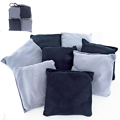 Beach Sport Stick (Premium Weather Resistant Duck Cloth Cornhole Bags - Set of 8 Bean Bags for Corn Hole Game - 4 Silver & 4 Black)