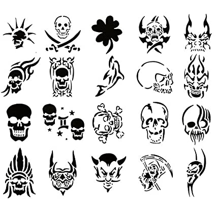 amazon com airbrush tattoo stencil set 60 book of 20 skull templates