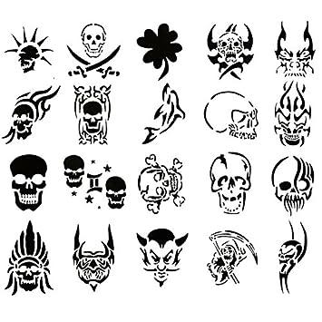Airbrush Tattoo Stencil Set 60 Book Of 20 Skull Templates