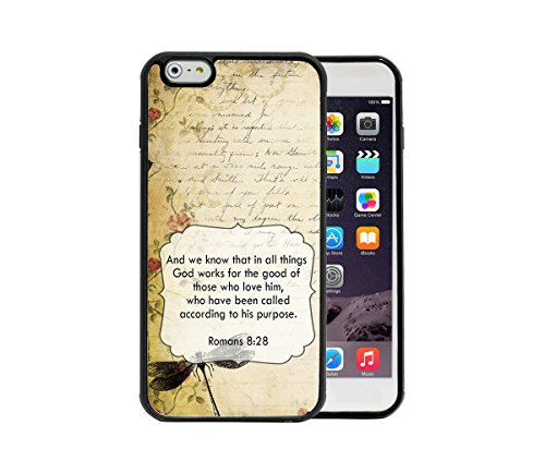 Romans 8:28 Bible Verse Vintage Letter Wallpaper Dragonfly And Rose Vine Apple iPhone 6/6S Plus, 5.5 Rubber TPU Silicone Phone Case – FITS IPHONE 6 PLUS & IPHONE 6S PLUS