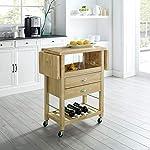 Crosley Furniture Bristol Double Drop Leaf Kitchen Cart, Natural
