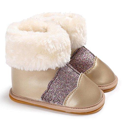Igemy Stiefel für Baby Mädchen weichen Gummi Snow Infant Kleinkind Neugeborene Aufwärmen Schuhe Gold