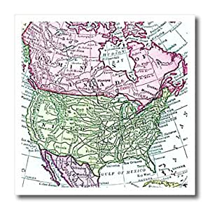 ht_112937_2 InspirationzStore Vintage Maps - Vintage map of North America - USA Canada Mexico - faded look geography travel maps pink green - Iron on Heat Transfers - 6x6 Iron on Heat Transfer for White Material