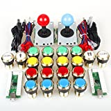 EG Starts Two Player Arcade DIY Kits Parts USB Encoder to PC Joystick + 5Pin Sticker + Gilded 1 & 2 Players Coin LED Lamp Lights Push Buttons for Mame KOF Raspberry Pi 2 3 3B