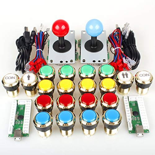 Kombat Kit (EG Starts Two Player Arcade DIY Kits Parts USB Encoder to PC Joystick + 5Pin Sticker + Gilded 1 & 2 Players Coin LED Lamp Lights Push Buttons for Mame KOF Raspberry Pi 2 3 3B)