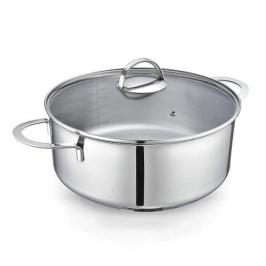 Eono by Amazon - Cacerola grande baja para inducción de acero inoxidable con tapa de vidrio templado y apta para horno y lavavajillas - 28 cm/6 L