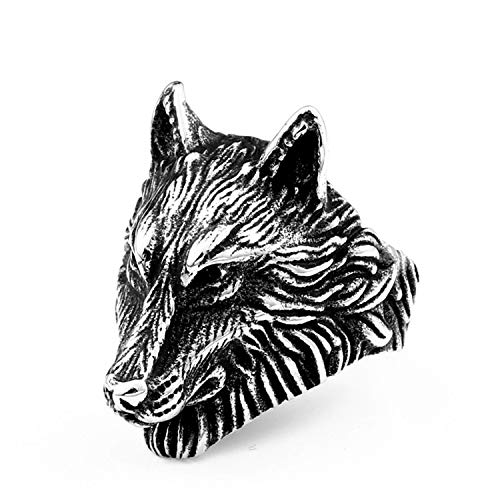 BAVAHA Punk Stainless Steel Thor Hammer Mjolnir Viking Wolf Head Ring for Man Amulet Punk Man's Fashion Animal Jewelry(8,Amulet Sea)