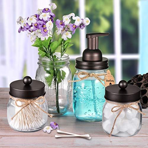Mason Jar Bathroom Accessories Set - Includes Mason Jar Foaming Hand Soap Dispenser and Qtip Holder Set - Rustic Farmhouse Decor Apothecary Jars Bathroom Countertop and Vanity Organizer (Bronze)