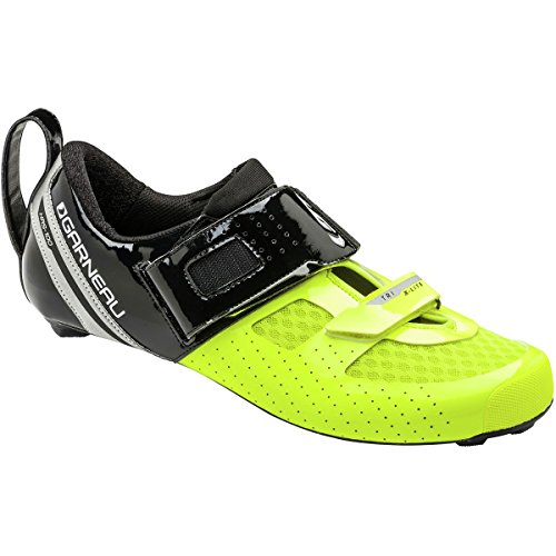 Louis Garneau Tri X-Lite Triathlon 2 Bike Shoes, Black/Bright Yellow, 41.5 (Place A-lite Reflector)