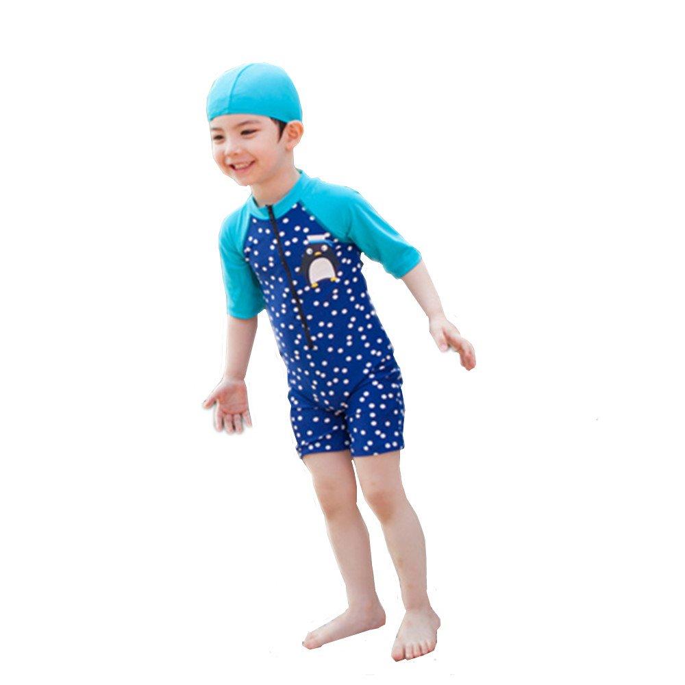 c88e60f801cf1 ... 大人気 可愛い子供用水着 男の子 連体水着 ペンギン柄 スクール セパレート キャップ付き 海水浴 スイミング ベビー フリル スカート  帽子付き お誕生日プレゼント ...
