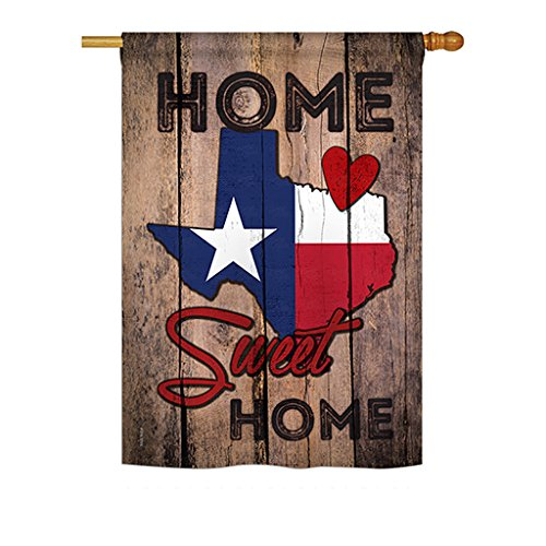 Ornament Collection H191119 Texas Sweet Home Americana States Decorative Vertical House Flag, 28